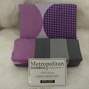Metropolitan Bamboo Purple Printed King Sheet Set